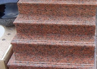 Red Straight Granite Step Treads Untuk Indoor Outdoor Langkah Finish Opsional